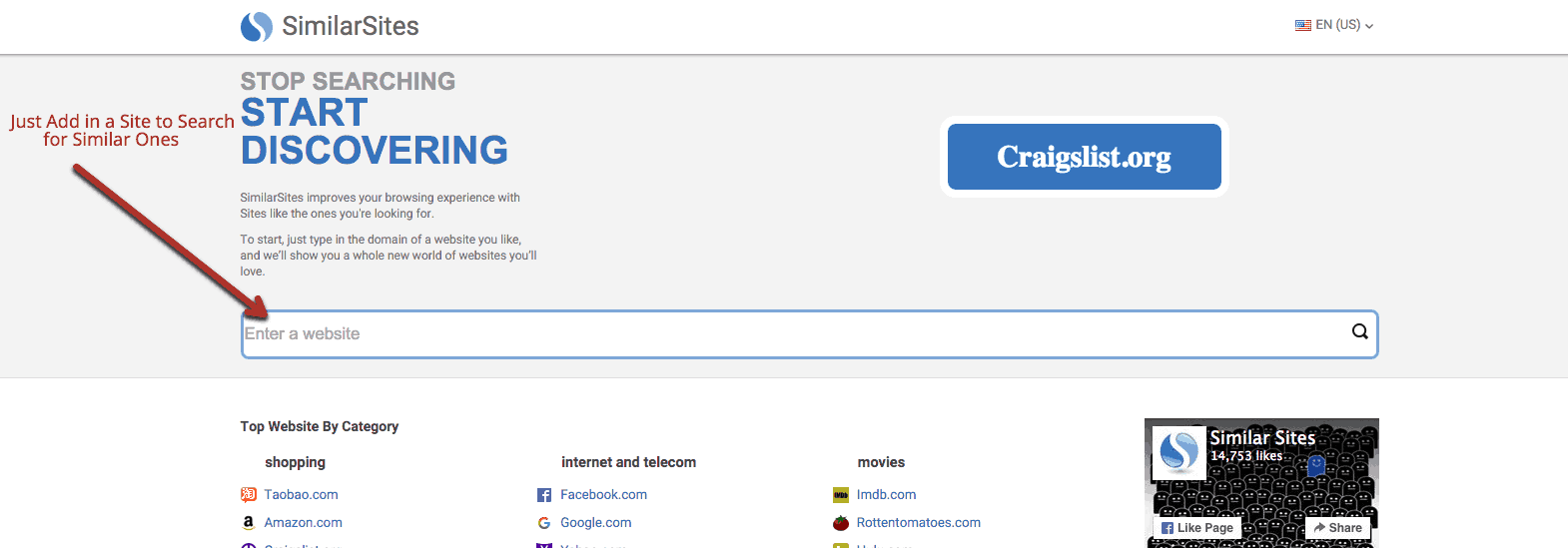 Similiarsites.com for SEO Company research