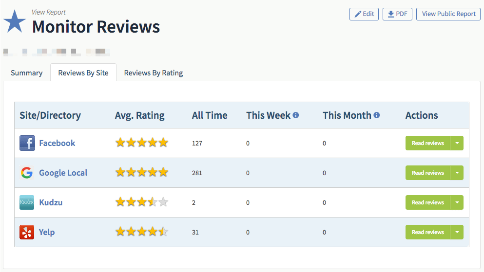 BrightLocal Review Tracking