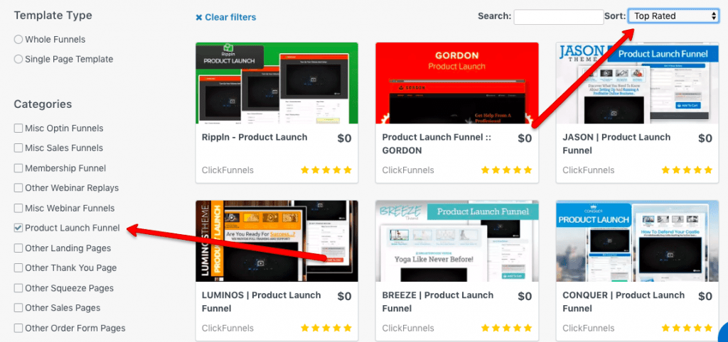 ClickFunnels Template Options