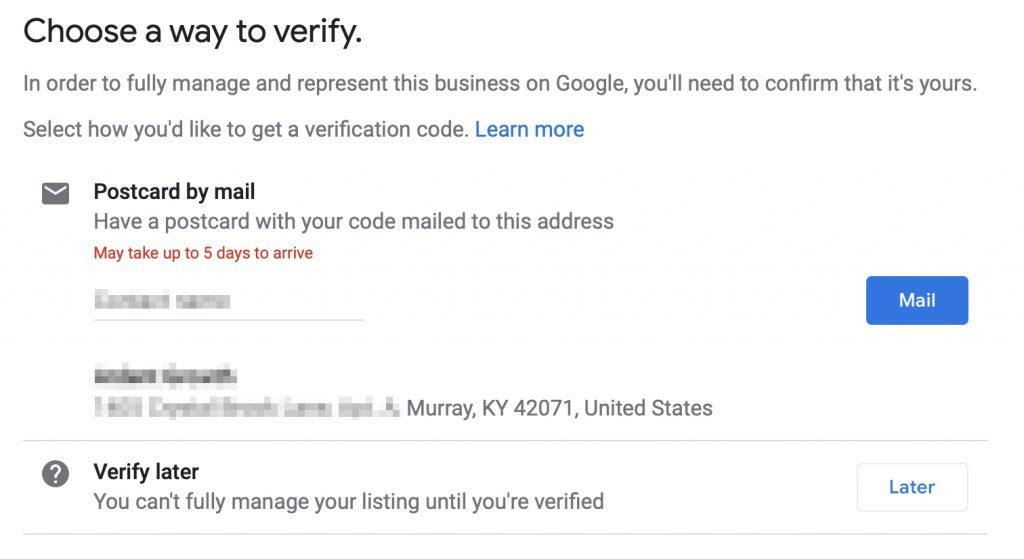 GMB Choose how to verify UI