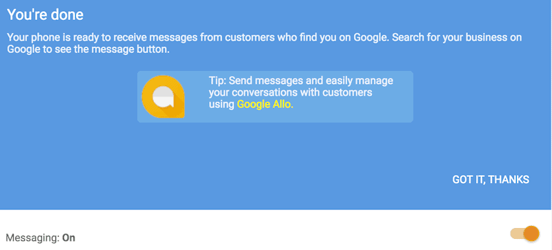 google my business messaging service
